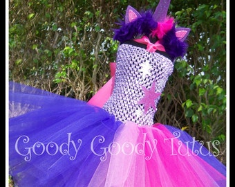 TWILIGHT DREAMS My Little Pony Unicorn Inspired Tutu Dress with Matching Headpiece - Large 4-6T