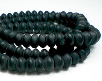 8mm Rondelle Matte Beads Black Onyx Beads Rondelle Bead Half Strand