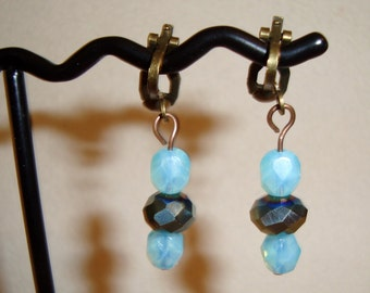 Clip-on Earrings, Turquoise and Iridescent Crystal Beads, Crystal Beas Set Off This Design, Handmade, Jewelry Boutique Design