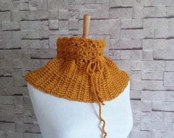 Crochet Cowl, Chunky Scarf, Mustard Yellow Cowl, Bubble Scarf, Crochet Neckwarmer, Winter Fashion