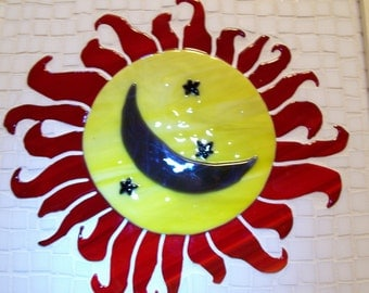 Sun Moon Stars, Mosaic Art, Fused Glass, Mosaic Fused Glass