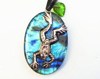 Labradorite Pendent, Sterling Silver Frog, Beatrix Potter Inspired