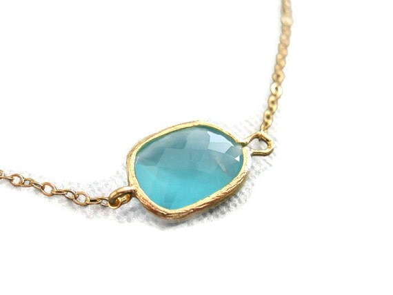 Asymetrical Aqua Green Necklace,  Gold Necklace