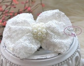 The Evaria - 2 pcs WHITE Sequin Bow Knot with pearls center for Bridal Sashes, Fascinator Baby Bow or Hat Design Appliques. Photography Prop