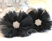 """2 pcs 2.5"""" Adeila Collection BLACK Shabby Frayed Vintage Chiffon Ruffle Flowers with Rhinestone,applique , hair accessories"""