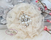 NEW: The Sunridge- 2 pcs 3 inch CHAMPAGNE Ivory Ruffled Lace Fabric Flowers w/ rhinestones pearls center for Bridal Sashes, Hair Accessories