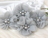 NEW: 4 pcs Aubrey PALE GRAY - Soft Chiffon with pearls and rhinestones Mesh Layered Small Fabric Flowers, Hair accessories
