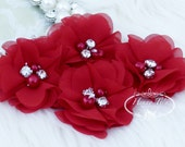 "NEW: 4 pcs Aubrey DARK RED - 2"" Soft Chiffon with pearls and rhinestones Mesh Layered Small Fabric Flowers, Hair accessories"
