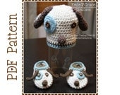 Puppy Beanie Hat and Slipper Crochet Patterns, LOGAN and LOLA - pdf 113, 706