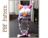 Crochet Owl Hat Pattern, Sleepy or Awake Ear Flap,  WHAT - a - HOOT OWL - pdf 106