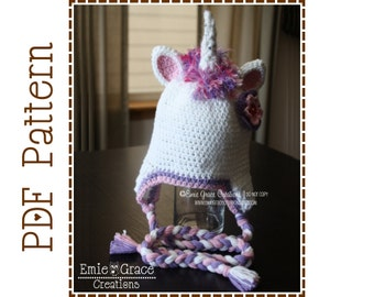 Crochet Unicorn Hat Pattern, Ear Flap Mohawk Mane, GLIMMER UNICORN - pdf 115
