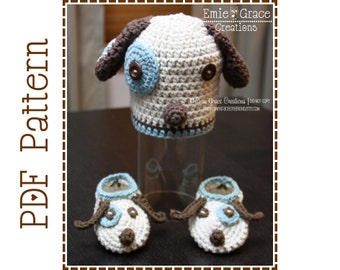 Puppy Beanie Hat and Slipper Crochet Patterns, LOGAN and LOLA - pdf 113, 706