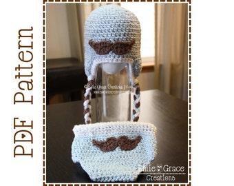 Mustache Ear Flap Hat and Diaper Cover Crochet Patterns, LITTLE MAN - pdf 409, 717