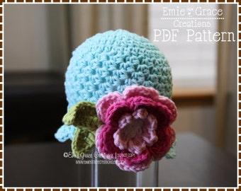 Crochet Flower Hat Pattern, Removable Headband, KENNEDY - pdf 220