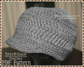 Newsboy Hat Crochet Pattern - KRISTI Adult - 506