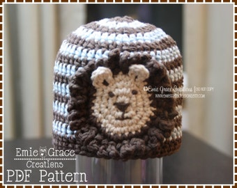 Crochet Lion Hat Pattern, Stripe Beanie, LEO LION - pdf 109