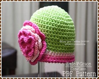 Flower Hat Crochet Pattern - SWEET PEA - 207