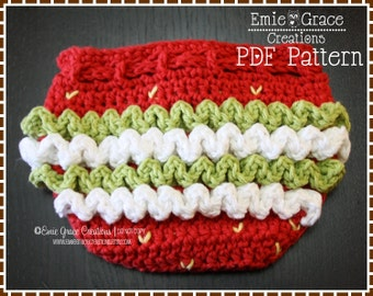 Ruffled Diaper Cover Crochet Pattern - SWEET STRAWBERRY - 714