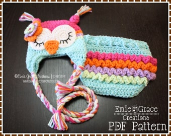Crochet Owl Hat & Ruffle Diaper Cover Patterns - Ear Flap - 8 Sizes (Newborn to Adult) - WHO LOVES YOU - pdf 130, 709