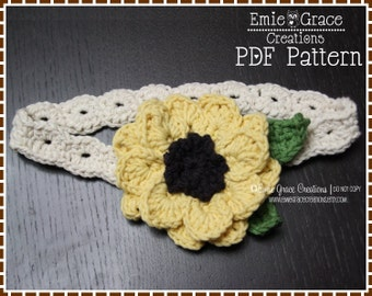 Flower Headband Crochet Pattern - SUNFLOWER - 601