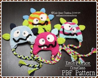 Crochet Monster Hat Pattern, Stripe Ear Flap, SILLY MILLY and MILO Monster - pdf 139