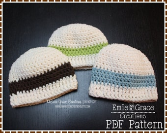 Beanie Crochet Pattern, 8 Sizes from Newborn to Adult, AIDEN - pdf 312
