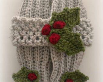 Hand Crocheted Gray / Ecru Holly and Ivy Legwarmers and Headband Set 0-3 Months READY TO SHIP