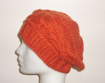 Hand Knit Beret Womens Hat Beret Cable Beret Hat in Rust - Small beanie hat  - WINTER SALE