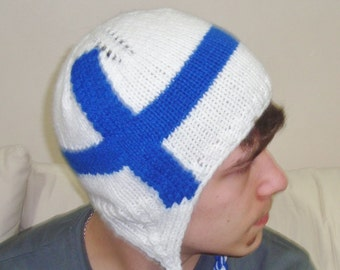 Finland Flag Beanie Finnish Hat in Blue & White for Teens, Womens, Mens - Winter Hat Fashion Winter Accessories - Finland Gifts for her, him