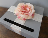 Gray Wedding Card Box with Ivory Lace satin ribbon and Pink Open Rose can customize colors and flowers