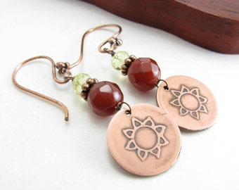Copper Sun and Gemstone Dangle Earrings Lemon Citrine Carnelian Etched Copper and Gemstone Earrings