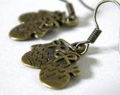 ON SALE Handmade Bronze Mitten Dainty Dangle Earrings