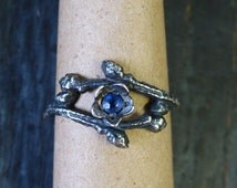 Oxidized Sterling Open Wild Blueberry Branch & Bud Ring w/ Blue Sapphire