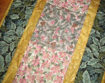 SALE-Price Reduction-Christmas Table Runner, Pink Poinsettias and Pine Cones, Long tablerunner, Poinsettia Green Leaves , White Flowers