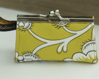 Lipstick case/ Lipbalm Case/ silvermetal frame/ white flowers on a curry yellow background