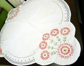 Embroidered Linen Table Runner - Table Scarf or Topper - Vintage Linens - Damaged 10119