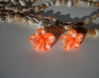 Tiny Orange and White Flower Post Earrings