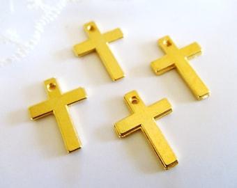 Gold Plated Cross Tiny Cross Charm Pendant Small Cross Metal Cross 10x14mm- 10 pieces