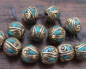 4 BEADS-Nepalese oval shape brass beads with turquoise inlay from Nepal - BD520