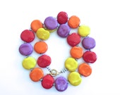 Kazuri Bead Necklace, Fair Trade Necklace, Ceramic Necklace, Yellow Orange Red and Violet Necklace