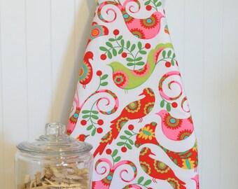 Designer Ironing Board Cover - Michael Miller's Pretty Bird in Santa Red