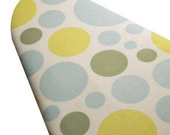 PADDED Ironing Board Cover made with Heather Bailey Nicey Jane Dream Dots blue yellow green select your size