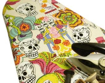 Ironing Board Cover custom design size large wide standard tabletop rockabilly Alexander Henry Los Novios skull Day of Dead cream pick size
