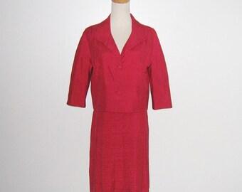 Vintage 1960s Suit/60s Red Suit/60s Silk Suit/60s Red Silk Suit - Size M