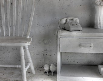 Bedroom photo, black and white photography, vintage telephone photo, fine art photography, retro photo, retro chair, high heel, home decor