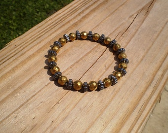Black and Faceted Gold Hematite Stretch Bracelet