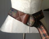 Vintage Plaid Fabric and Leather Belt - Canvas - Brown - Fall Fashion - Wrap Around - Reversable