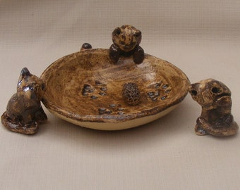 SALE Ceramic Miniature cats with small plate and a tiny hedgehog
