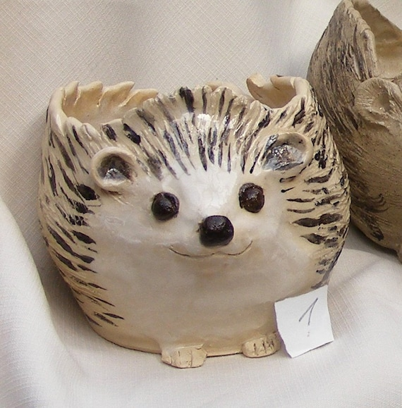 Knitting Bowl Nose : Made to order stoneware hedgehog yarn bowl big sculpted