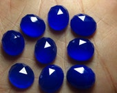 10 pcs - 10x12 mm Oval Chekar Cut Cabochon  Faceted -  Cobalt Blue  CHALCEDONY - Gorgeous Nice Blue Sparkle